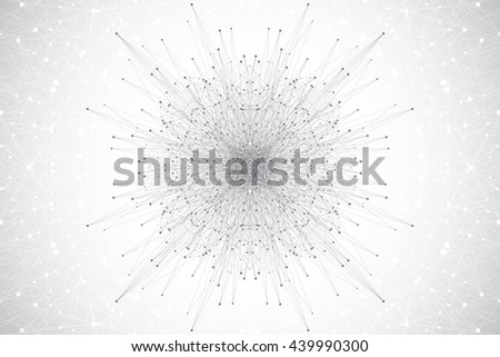 graphic background molecule and communication. Molecular structure DNA or neuron composition. Connected lines with dots. Medicine, science, technology design .Vector illustration. - stock vector