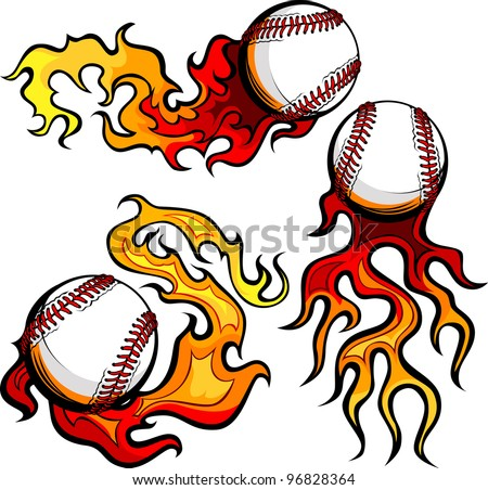 Graphic baseballs sport vector image with flames - stock vector