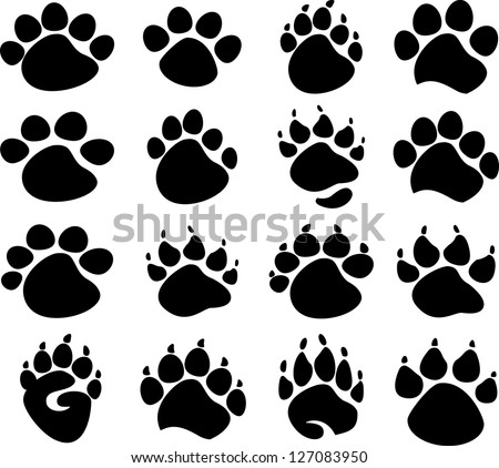 Graphic Bear, Tiger, and Animal Paws or Claws Vector Images - stock vector