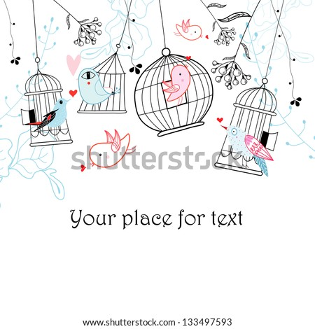 Graphic birds and cages on a white background with plants