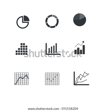 Graphic business ratings and charts icons