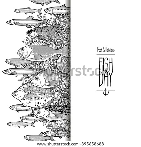 Graphic Sea Life Collection Vector Ocean Stock Vector