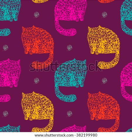 Graphic colorful seamless pattern with linear cats, doodle kittens and hand drawn home animals, balls of yarn on purple isolated background in vector. Illustration of nature, animal planet, wildlife - stock vector