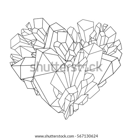 Graphic Crystals In The Shape Of Heart Drawn In Line Art Style. Vector  Valentine Day