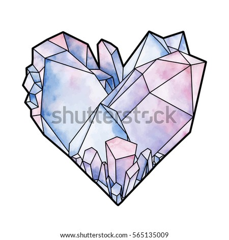 Graphic Crystals In The Shape Of Heart. Vector Valentine Day Design In  Pastel Colors Isolated