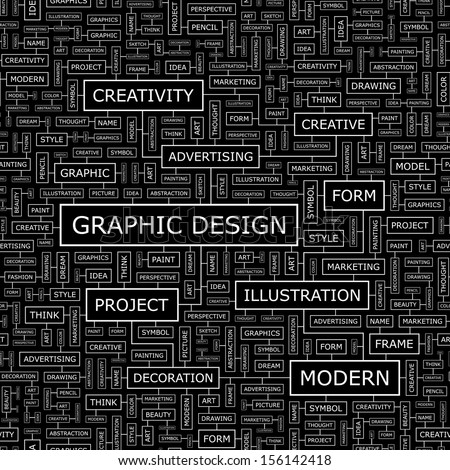 GRAPHIC DESIGN. Background concept wordcloud illustration. Print concept word cloud. Graphic collage with related tags and terms. Vector illustration.  - stock vector