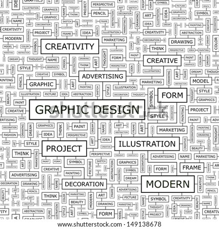 GRAPHIC DESIGN. Concept vector illustration. Word cloud with related tags and terms. Graphic tag collection. Wordcloud collage.  - stock vector