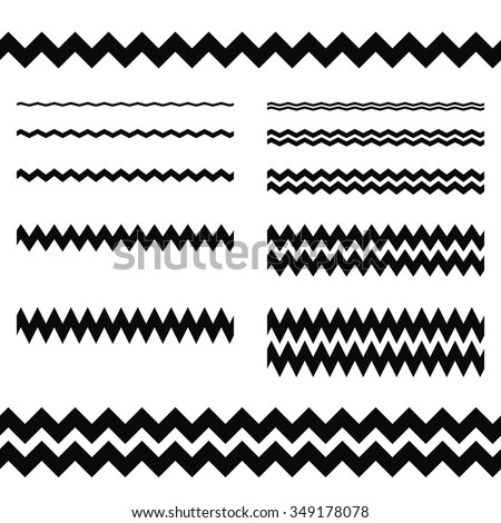 Graphic design elements - zigzag line page divider set - stock vector