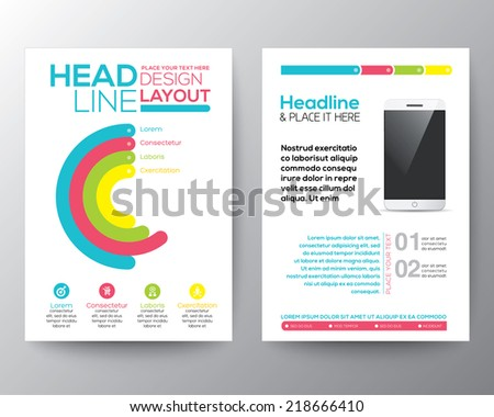 Graphic Design Layout with smart phone concept vector template for flyer brochure leaflet poster  - stock vector