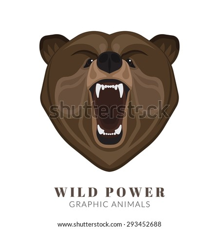 Graphic design of screaming angry bear head. Text outlined - stock vector