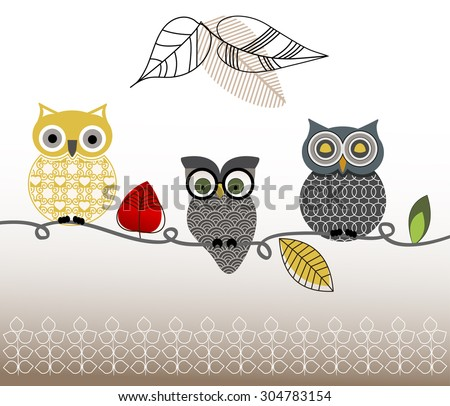 Graphic design owls on a perch   - stock vector