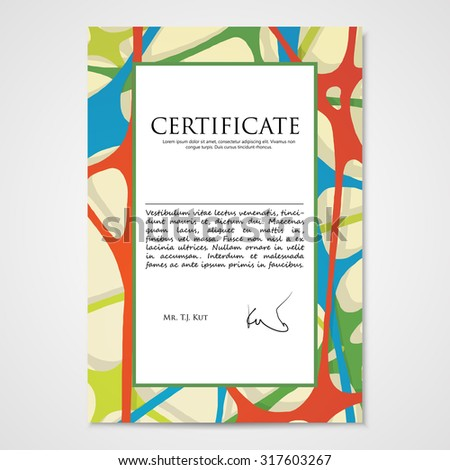 Graphic design template document with hand drawn doodle pattern. Vector illustration.