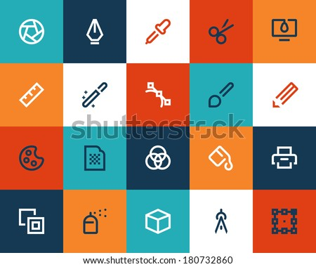 Graphic design tools. Flat icons - stock vector