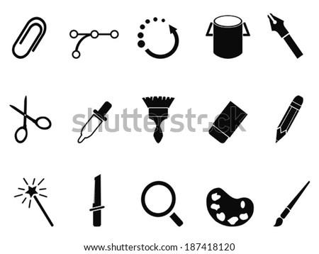 graphic design tools icon set - stock vector