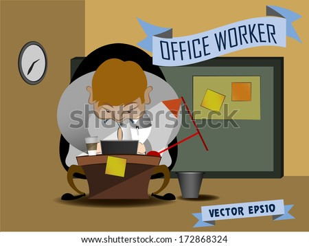 graphic design vector of office worker, business fat man working hard at his desk