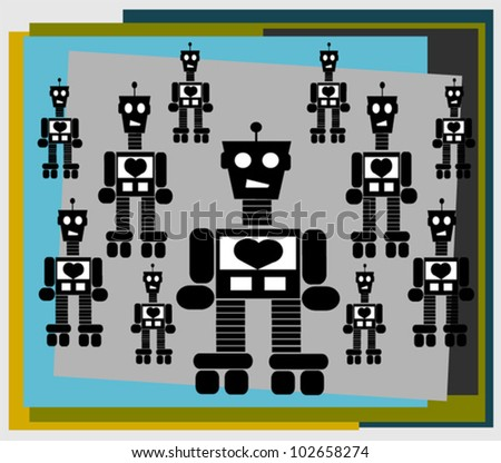 graphic design with vintage robot - stock vector