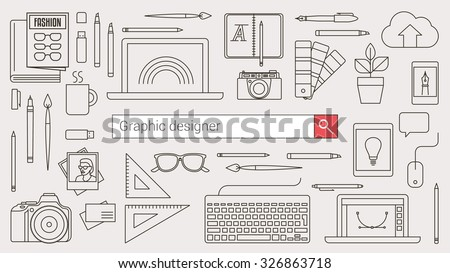 Graphic designer, illustration artist and photographer banner with search bar and thin line tools and objects on a desktop - stock vector