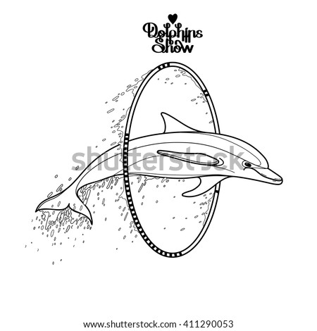 graphic dolphin jumping through a hoop summer water performance sea and ocean vector creatures