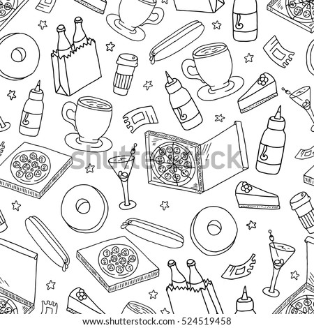 Graphic drawing food and drinks seamless pattern. Hand drawn hot dog coffee pizza donuts cocktails background. Fastfood seamless texture for cafe restaurant wrapping paper etc.