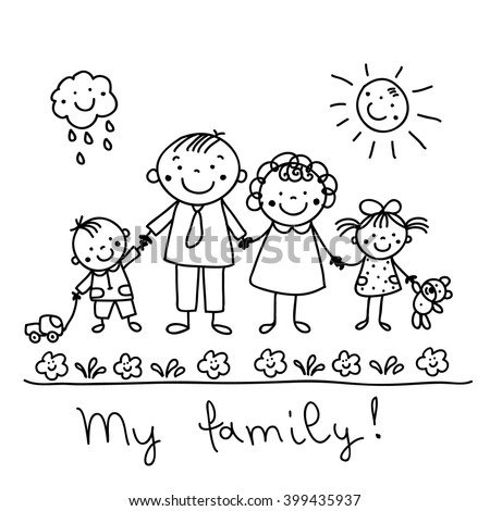 Graphic drawing happy family