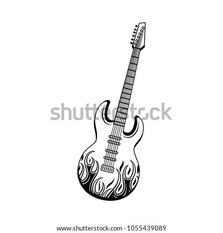 Graphic Electric Guitar Black With Jack Cable Audio Wire Rock Music Attribute String Instrument