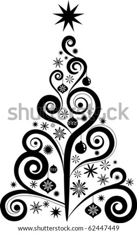 Graphic elegant Christmas tree - stock vector