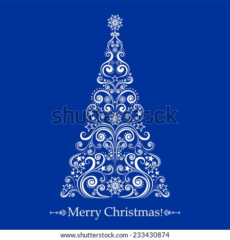 Graphic elegant Christmas tree isolated on Blue background. Vector illustration - stock vector