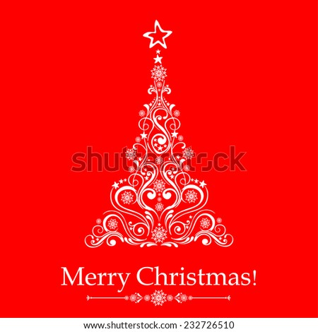 Graphic elegant Christmas tree isolated on red background. Vector illustration  - stock vector