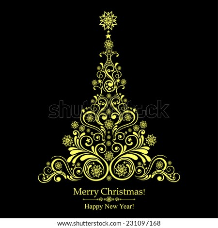 Graphic elegant Christmas tree. Vector illustration - stock vector