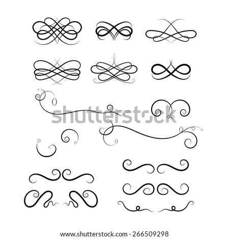 Graphic elements calligraphic vector sets for designers - patterns, designs, monograms and curlicues. For weddings,Valentine's day,holidays,baby design,birthday. - stock vector