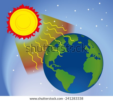 Graphic environment in nature, UV ultraviolet radiation - stock vector