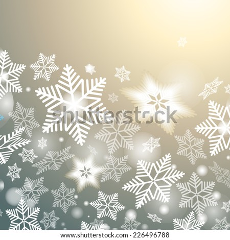 graphic festive winter background with snowflakes   - stock vector