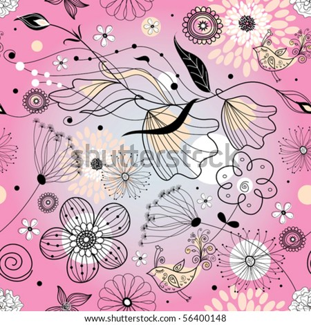 Graphic floral pattern - stock vector