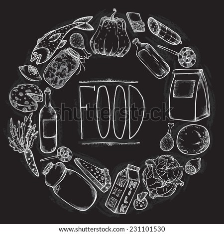 Graphic Food set in chalkboard style - stock vector