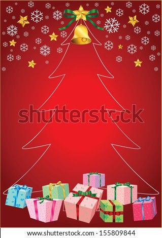 graphic for celebration,Christmas tree , gift and colored  - stock vector