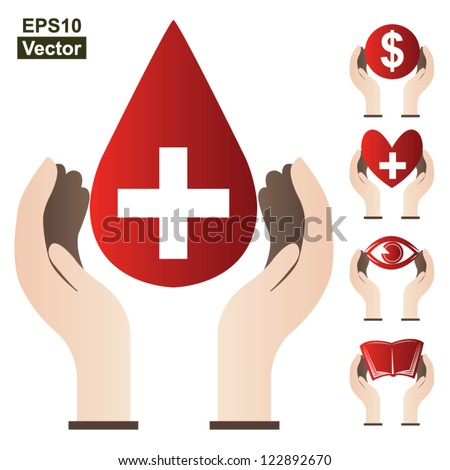 Graphic For Donation Concept ( Blood Donation, Money Donation, Heart Donation, Eye Donation and Book Donation )Isolated on White Background - stock vector
