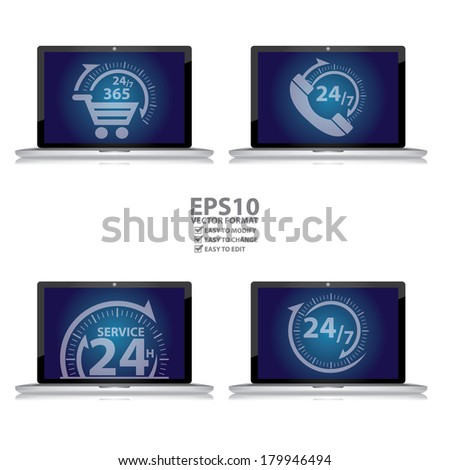 Graphic for E-Commerce Concept, Computer Laptop With 24/7 365 Days Shopping Sign, 24/7 Customer Support or Call Center Sign, 24H Service Sign and Open 24/7 Sign on Blue Screen Isolated on White  - stock vector
