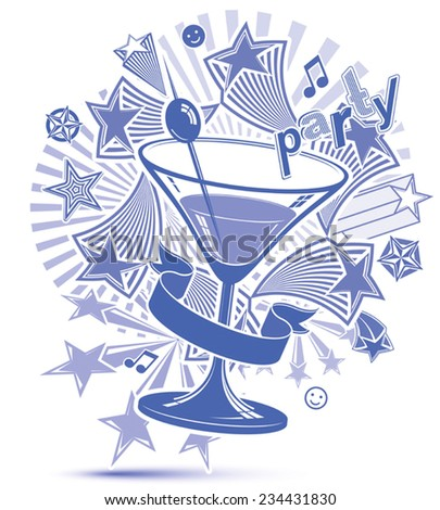 Graphic grayscale leisure backdrop with musical notes and glass martini goblet with decorative stars. Party design elements easy to use separately. Lounge theme poster. - stock vector