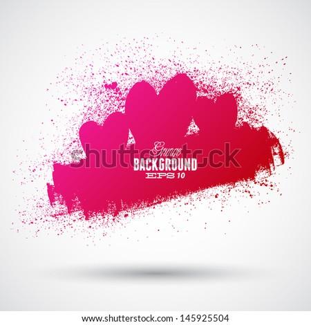 Graphic grunge hearts, ink splatter vector. - stock vector