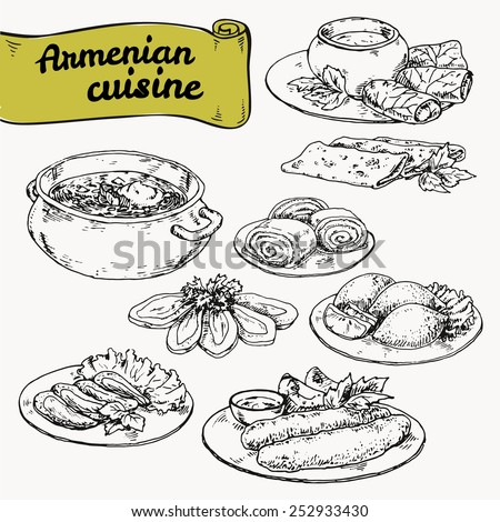 graphic hand-drawn illustrations. set of national cuisine of Armenian - stock vector