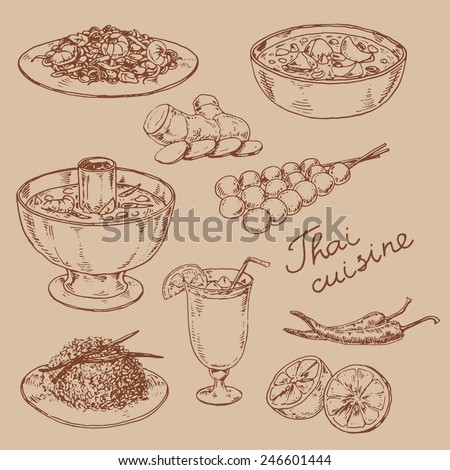 graphic hand-drawn illustrations. set of national cuisine of Thailand  - stock vector