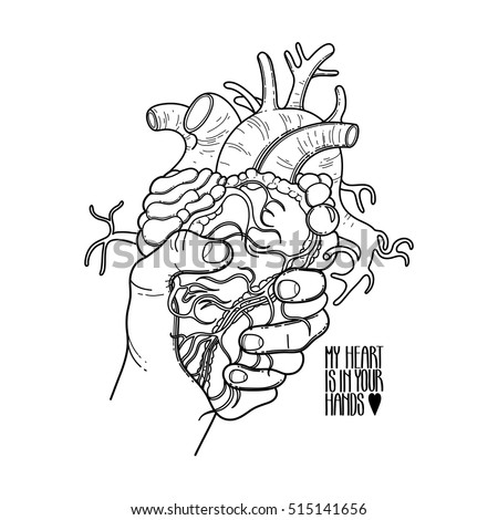 Graphic Hand Grasping Human Heart Vector Card Isolated On The White Background Coloring Book