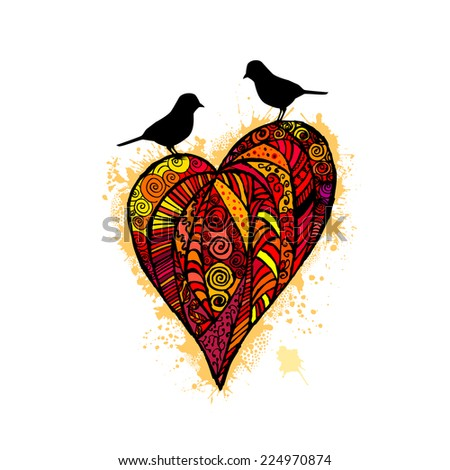 Graphic heart with birds. Happy Valentine's Day. Vector - stock vector