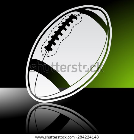 Graphic icon of american football ball with reflection - stock vector