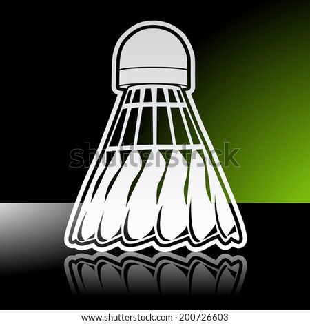 Graphic icon of badminton shuttlecock birdie with reflection. Illustrator 10 EPS with blends and opacity mask