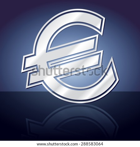 Graphic icon of euro symbol with reflection - stock vector