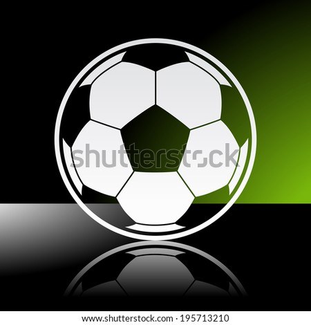 Graphic icon of football soccer ball with reflection. Illustrator 10 EPS with blends and opacity mask - stock vector