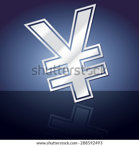 Graphic icon of yen sign symbol with reflection.