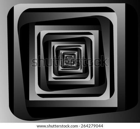Graphic illusion: black and white, disappearing into the distance square fractal. - stock vector