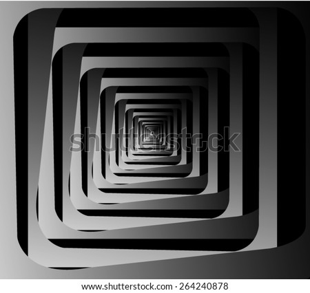 Graphic illusion: black and white, disappearing into the distance square fractal, forming a dense corridor. - stock vector